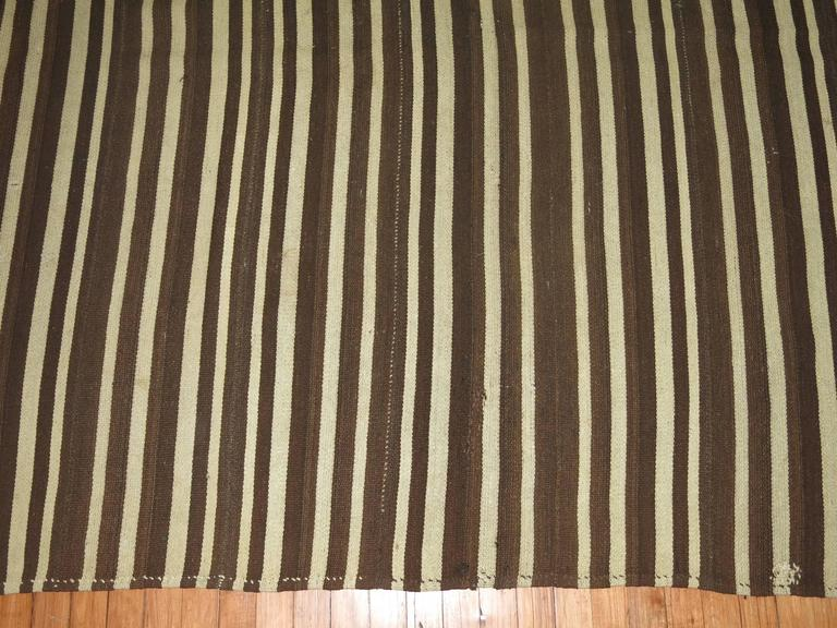 Hand-Knotted Vintage Striped Kilim For Sale