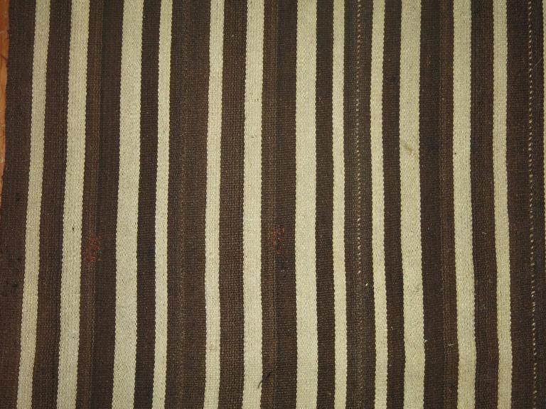 Wool Vintage Striped Kilim For Sale