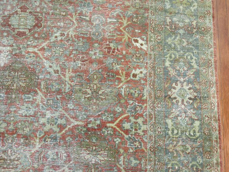 Shabby Chic Persian Mahal Carpet In Distressed Condition For Sale In New York, NY