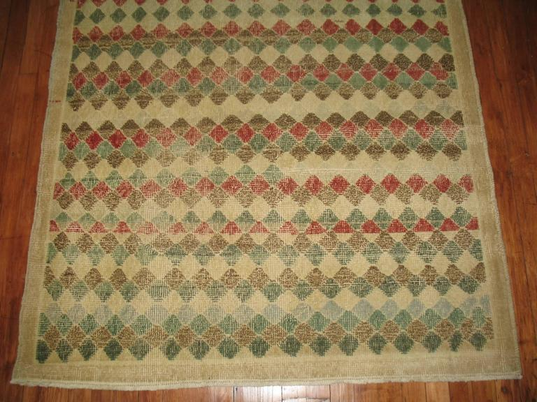 Vintage Turkish Deco rug with an all-over diamond motif.