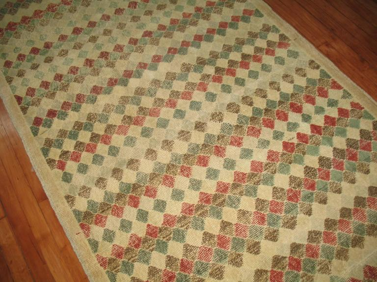 Hand-Knotted Vintage Turkish Deco Rug For Sale