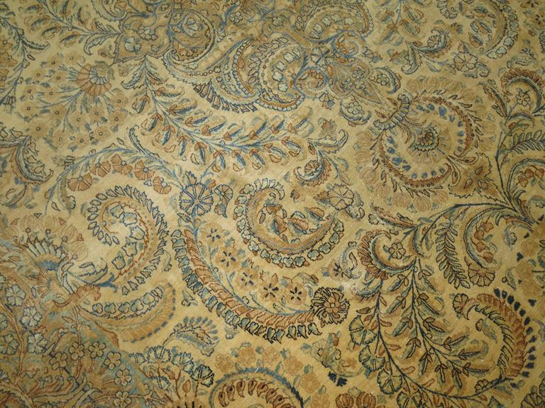 Wool Antique Persian Kerman For Sale