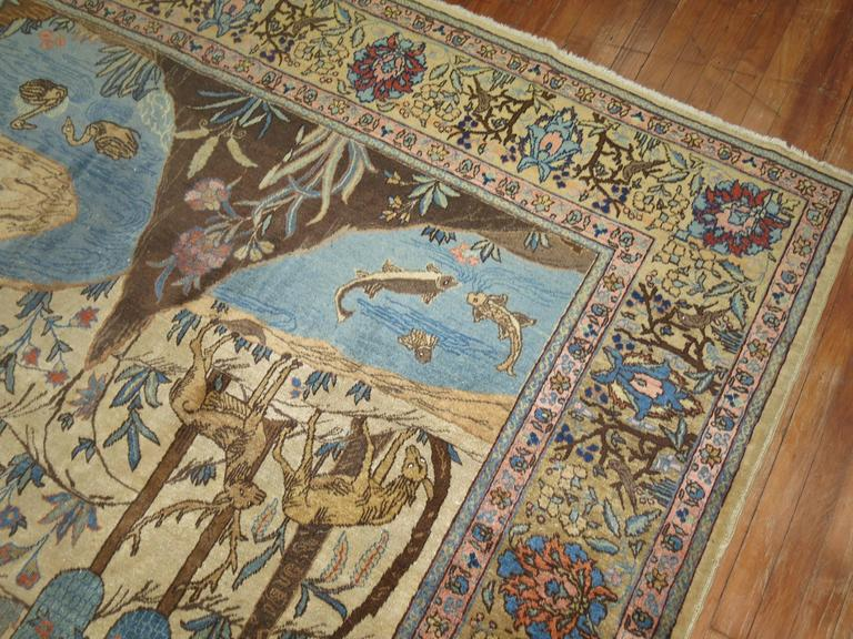 Rare room size pictorial Tabriz rug priced at a great value compared to others of the same kind.