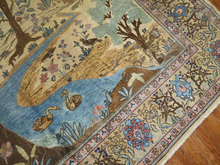 Hand-Knotted Antique Persian Tabriz Pictorial Hunting Scene Carpet For Sale