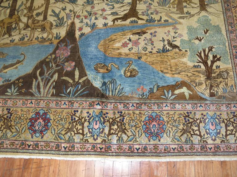 Antique Persian Tabriz Pictorial Hunting Scene Carpet In Good Condition For Sale In New York, NY