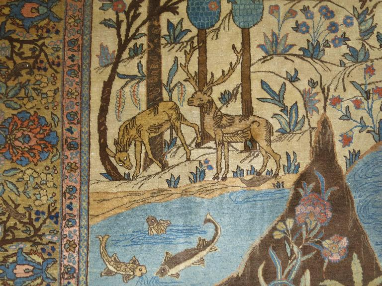 20th Century Antique Persian Tabriz Pictorial Hunting Scene Carpet For Sale