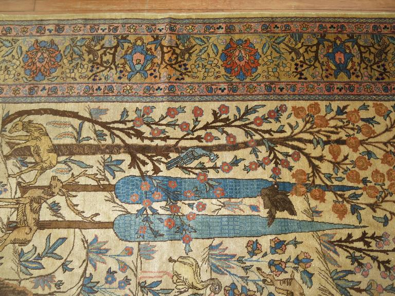 Wool Antique Persian Tabriz Pictorial Hunting Scene Carpet For Sale
