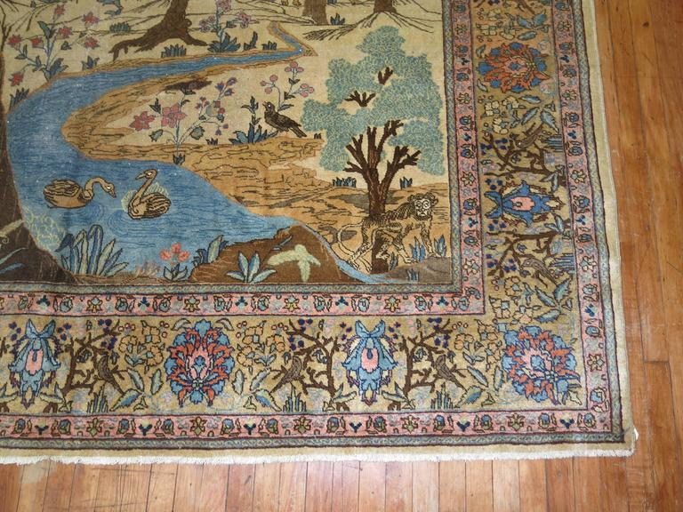 Antique Persian Tabriz Pictorial Hunting Scene Carpet For Sale 2