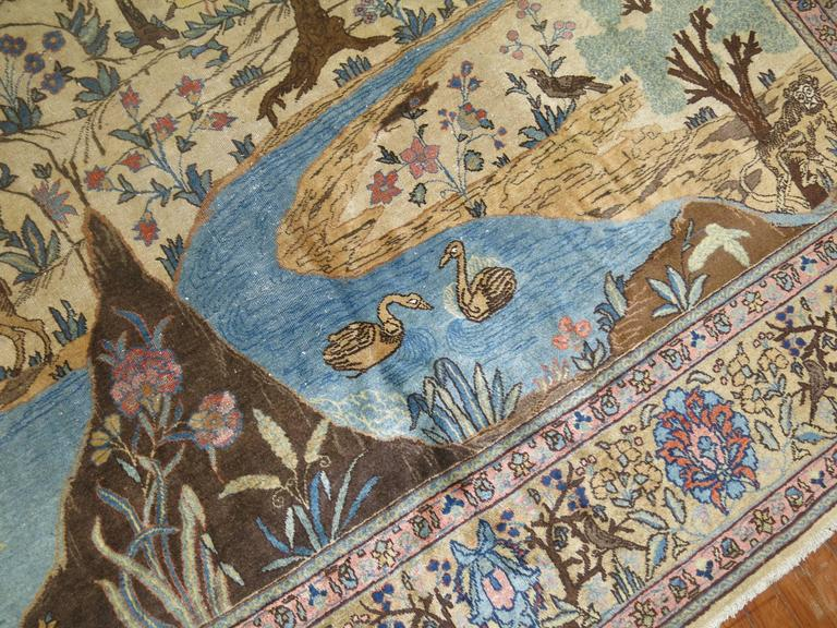 Antique Persian Tabriz Pictorial Hunting Scene Carpet For Sale 3