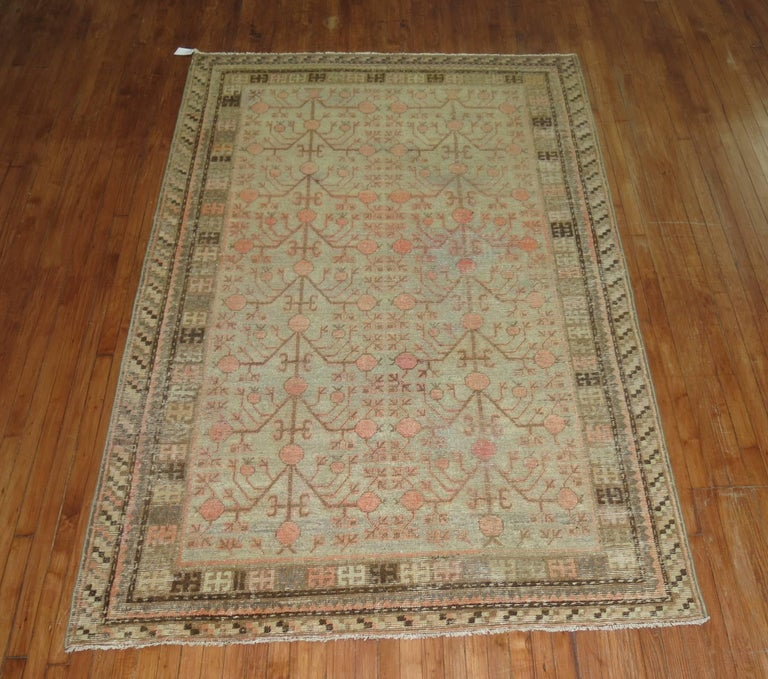 Hand-Woven Gray Coral Antique Khotan Pomegranate Early 20th Century Rug For Sale