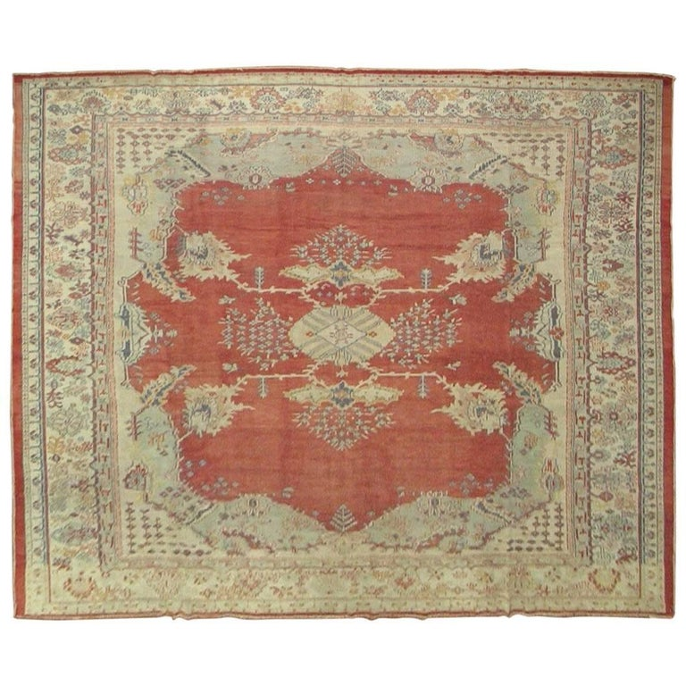 Antique Large Square Oushak Rug