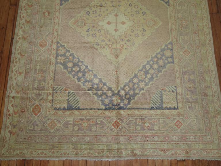 Turkmen Lavender Vintage Samarkand Gallery Rug For Sale