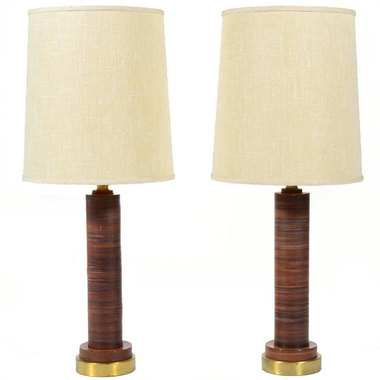 Pair of Table Lamps with Leather Bases For Sale