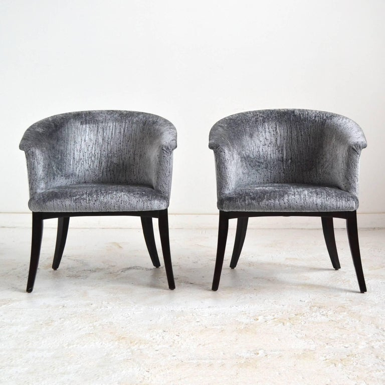 Mid-20th Century Dunbar Curved-Back Lounge Chairs For Sale