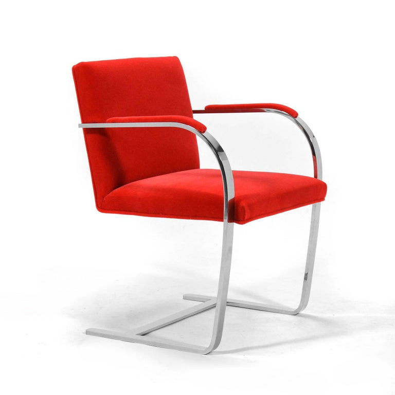 One of Mies' masterpieces, the Brno chair is a sublime Minimalist design. Designed for the Tugendhat House in 1930, Knoll has been producing the Brno chair in the US for decades. This is the top-shelf version with a frame that follows the original