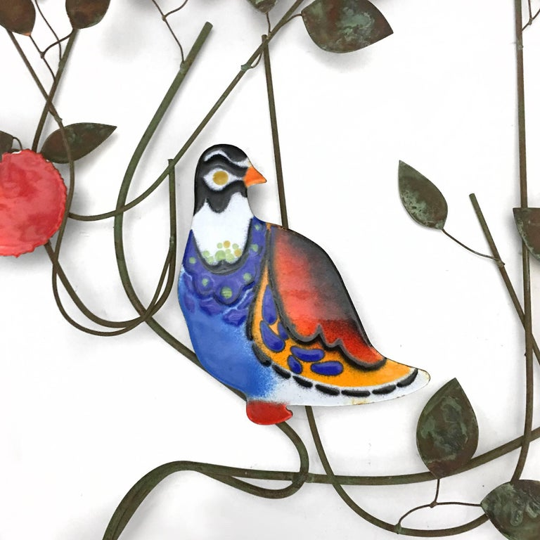 Mid-Century Modern C. Jeré Bird in a Tree Enameled Wall Sculpture For Sale