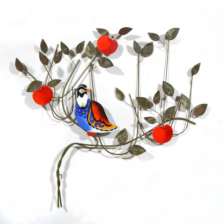 American C. Jeré Bird in a Tree Enameled Wall Sculpture For Sale