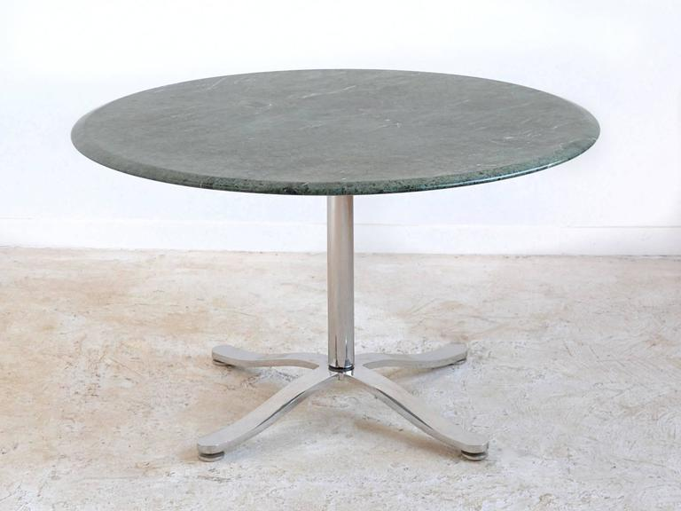 Stainless Steel Nicos Zographos Table with Marble Top For Sale