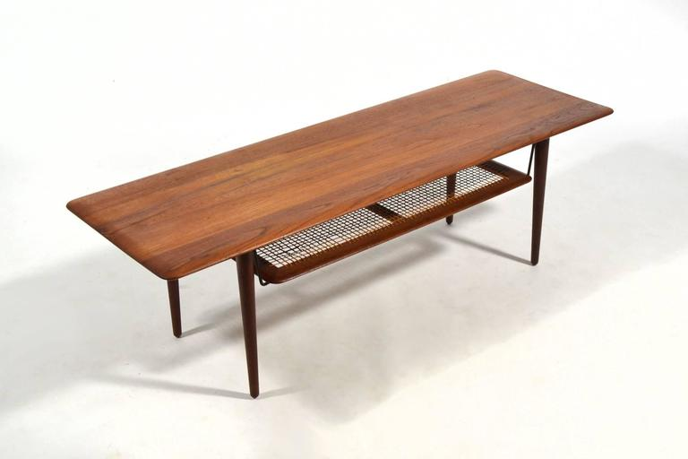 Peter Hvidt & Orla Mølgaard Nielsen Coffee Table with Cane Shelf 2