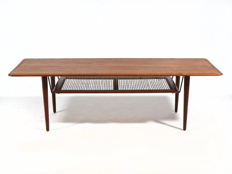 Peter Hvidt & Orla Mølgaard Nielsen Coffee Table with Cane Shelf 3