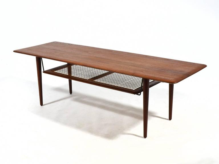 Peter Hvidt & Orla Mølgaard Nielsen Coffee Table with Cane Shelf 7