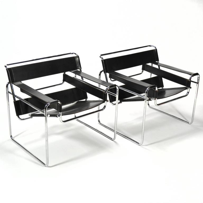 Bauhaus Marcel Breuer Pair of Early Wassily Chairs by Knoll For Sale