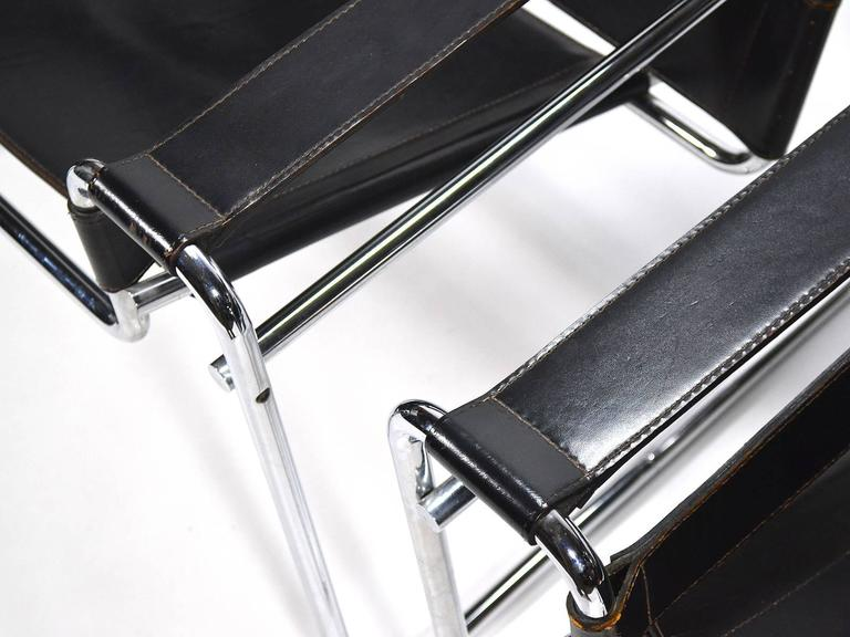 Leather Marcel Breuer Pair of Early Wassily Chairs by Knoll For Sale
