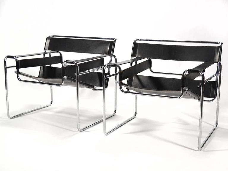 Marcel Breuer Pair of Early Wassily Chairs by Knoll For Sale 2