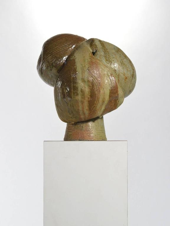 Glazed Abstract Stoneware Sculpture For Sale