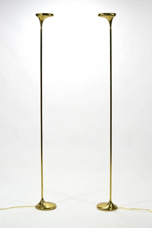 Italian Sculptural Brass Torchiere Lamps By C S Arte At