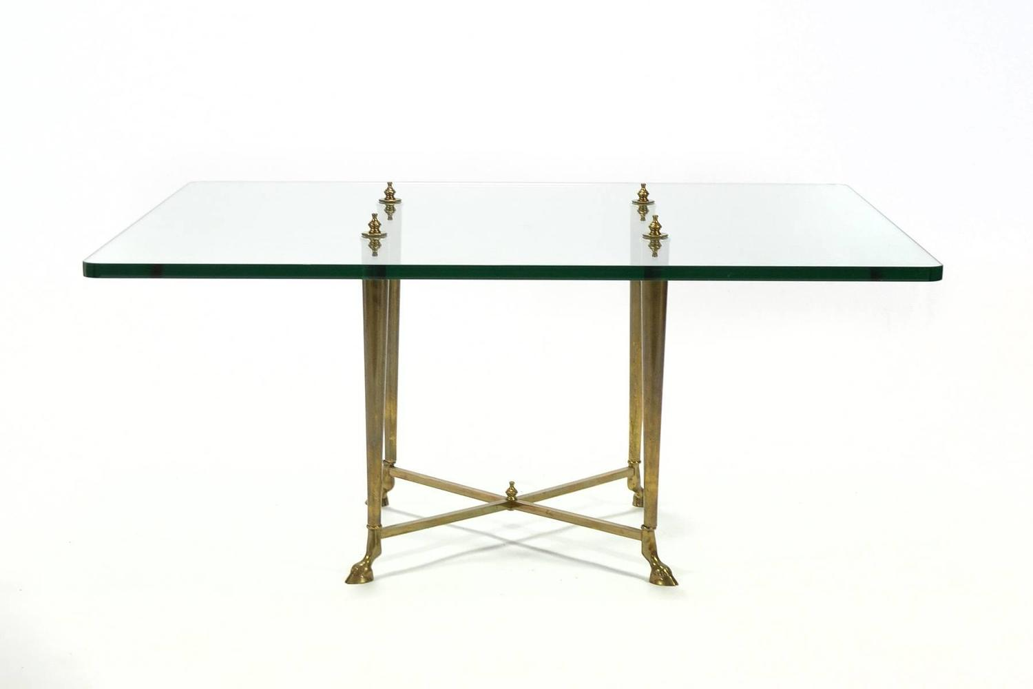 Italian Glass Top Coffee Table With Brass Hoof Base For Sale At 1stdibs
