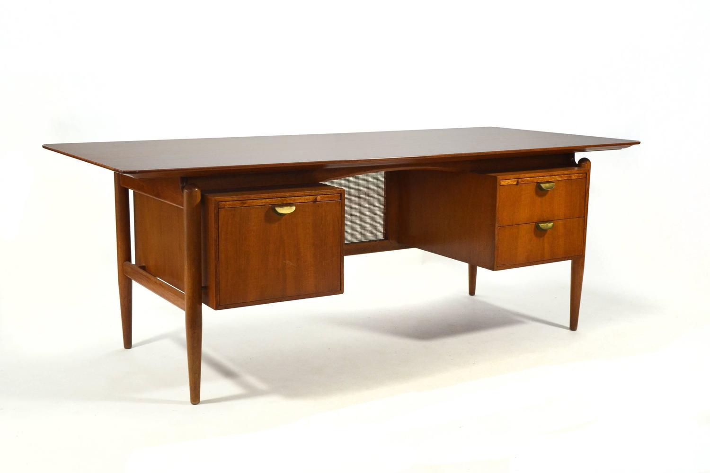 Finn Juhl Double Pedestal Desk By Baker For Sale At 1stdibs