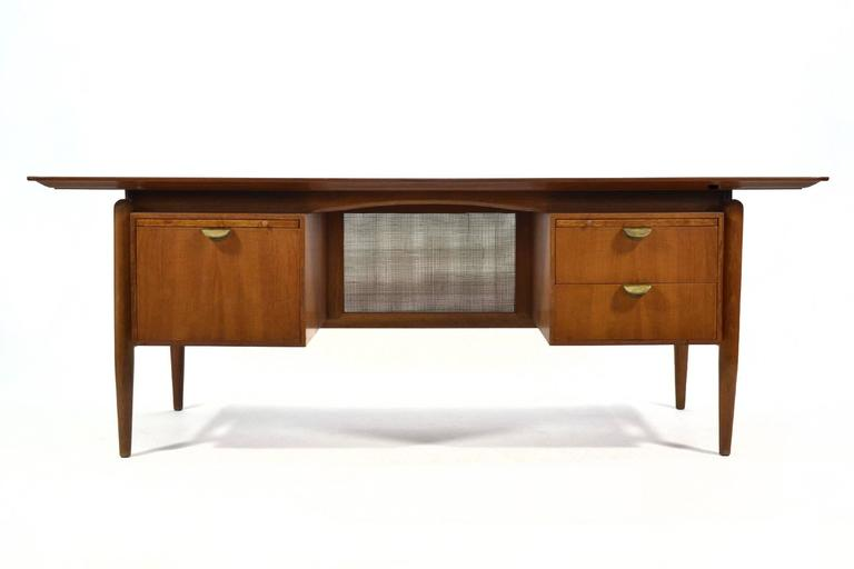Scandinavian Modern Finn Juhl Double Pedestal Desk by Baker For Sale