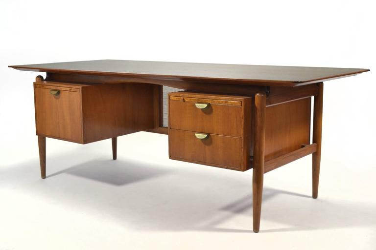 American Finn Juhl Double Pedestal Desk by Baker For Sale