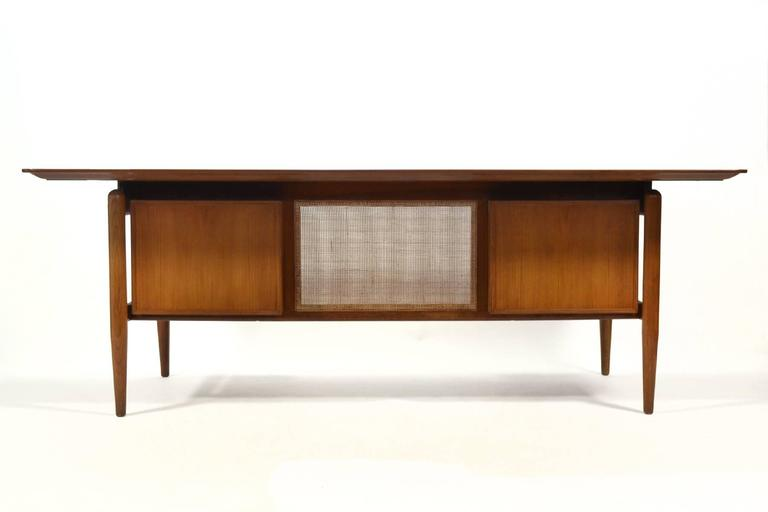 Finn Juhl Double Pedestal Desk by Baker In Good Condition For Sale In Highland, IN