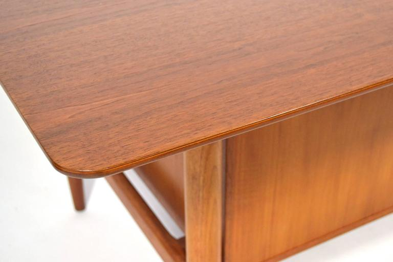 Walnut Finn Juhl Double Pedestal Desk by Baker For Sale