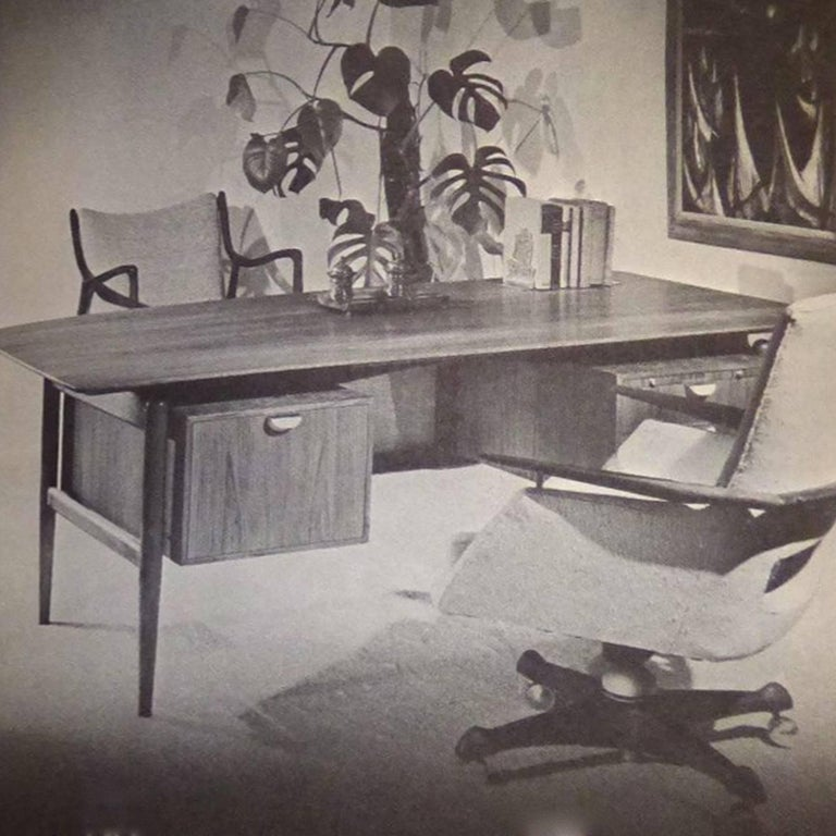 Finn Juhl Double Pedestal Desk by Baker For Sale 3