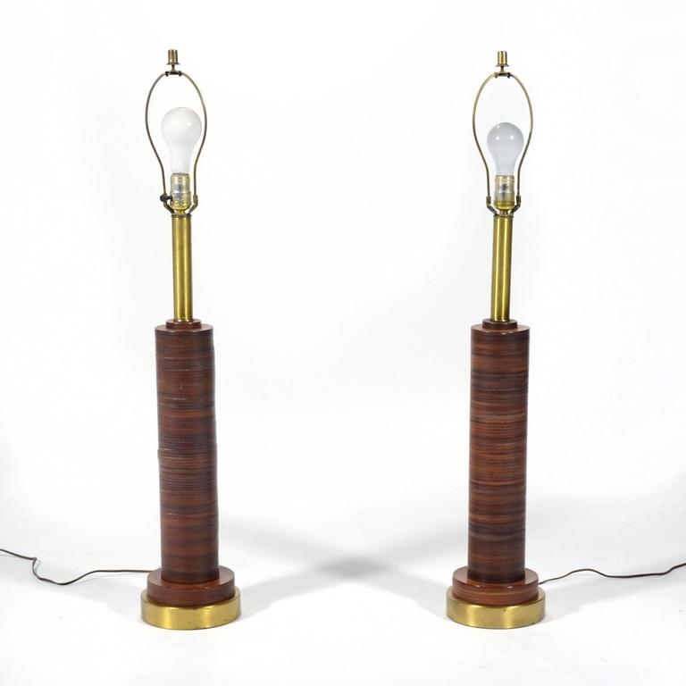 Mid-Century Modern Pair of Table Lamps with Leather Bases For Sale