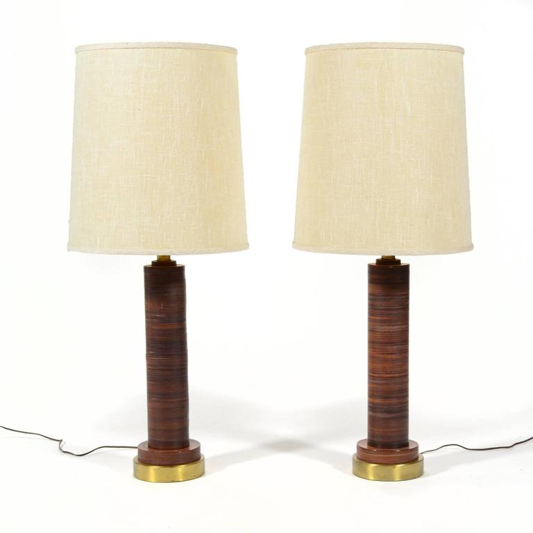 American Pair of Table Lamps with Leather Bases For Sale