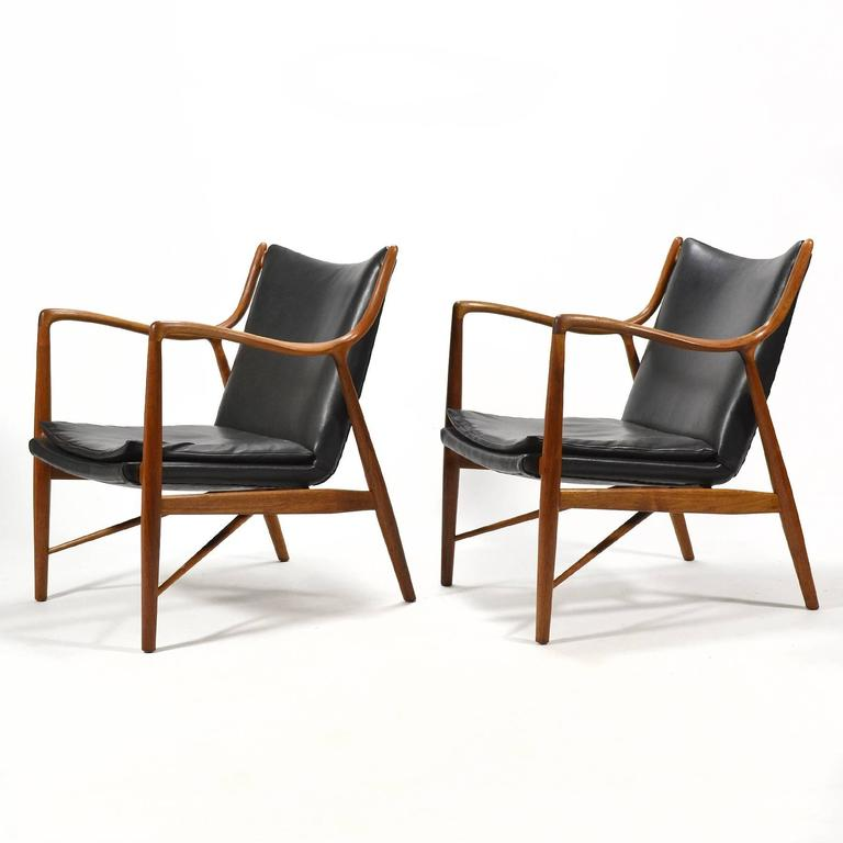 Finn Juhl Pair of No. 45 Easy Chairs 3