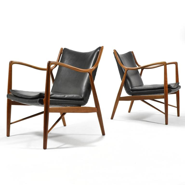 Finn Juhl Pair of No. 45 Easy Chairs 5