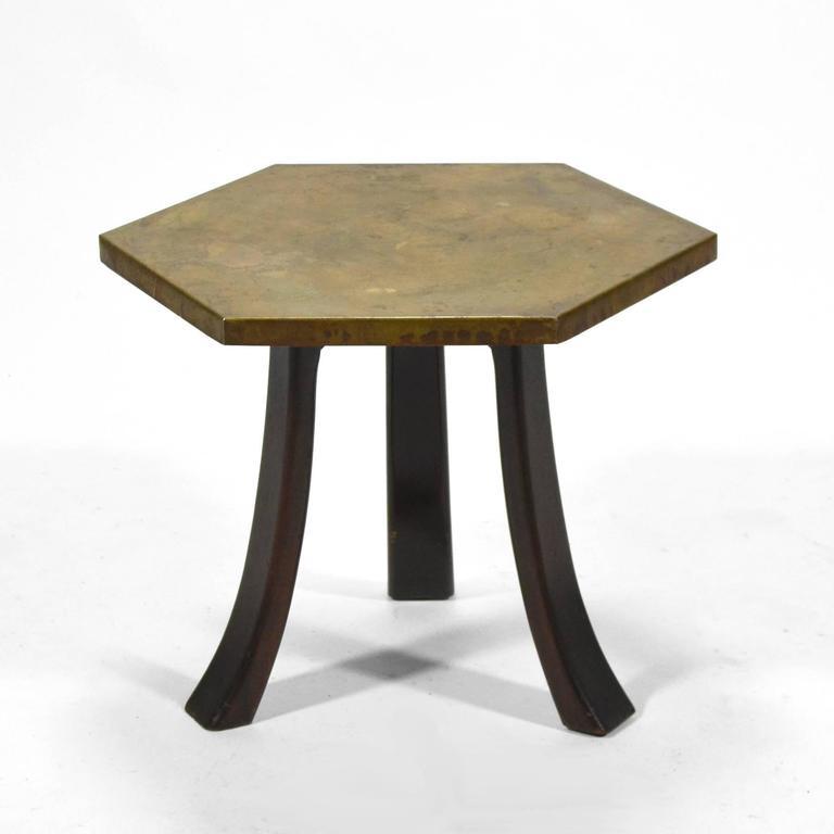 Harvey Probber Hexagonal Side Table with Bronze Top 2