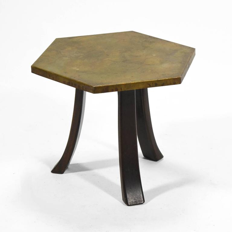 Harvey Probber Hexagonal Side Table with Bronze Top 3