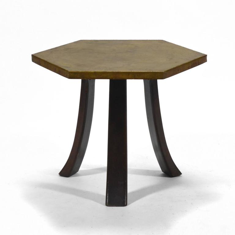 Harvey Probber Hexagonal Side Table with Bronze Top 4