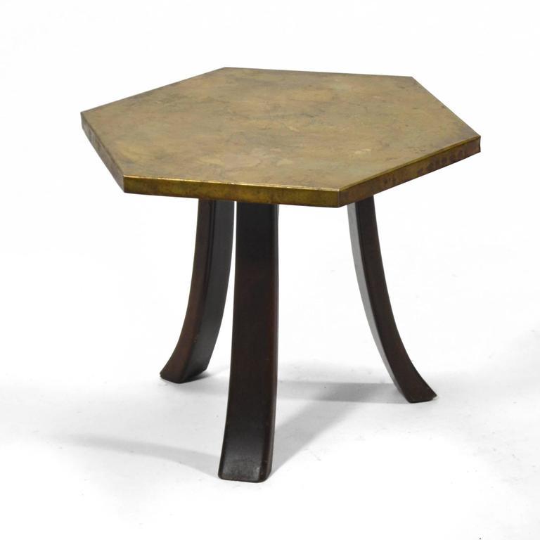 Harvey Probber Hexagonal Side Table with Bronze Top 5