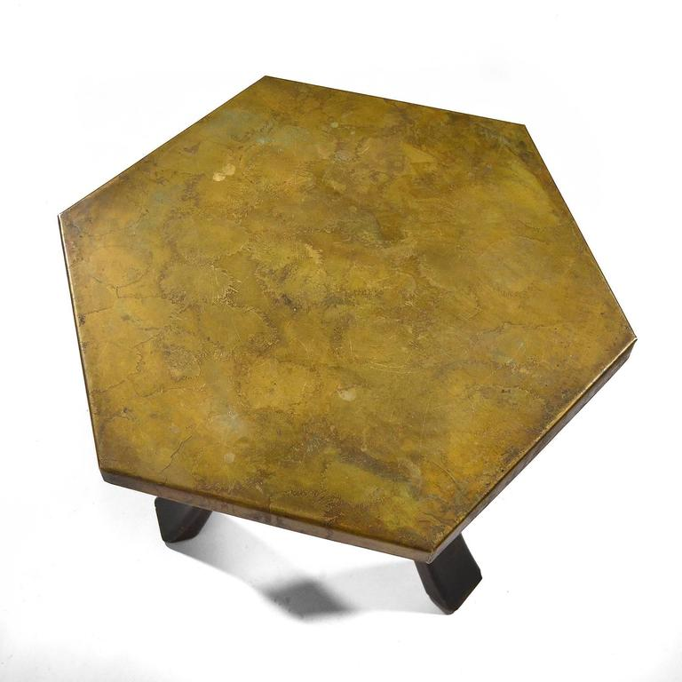 Harvey Probber Hexagonal Side Table with Bronze Top 7