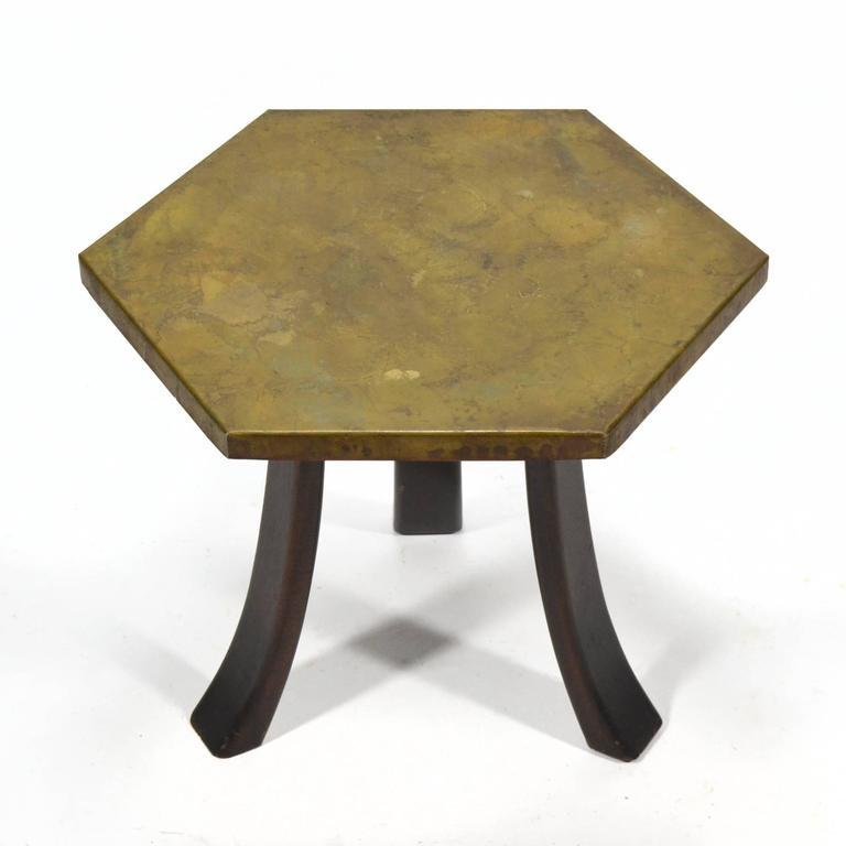 Harvey Probber Hexagonal Side Table with Bronze Top 10