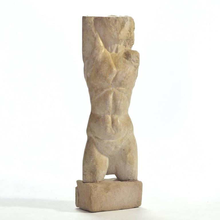 Mid-Century Modern Carved Stone Torso For Sale
