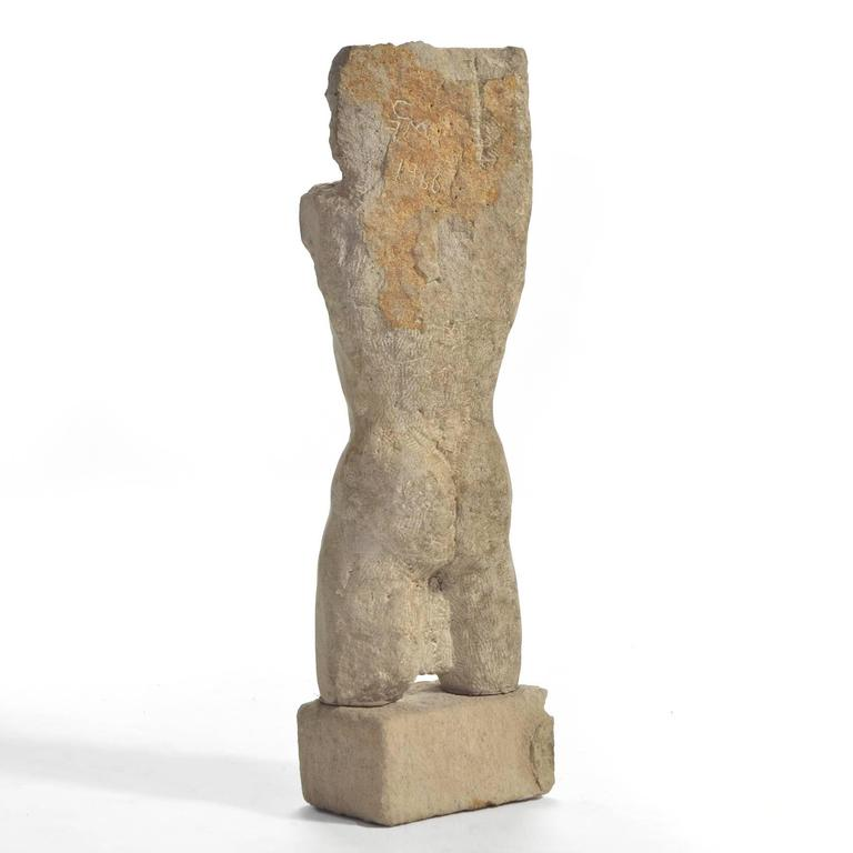 American Carved Stone Torso For Sale