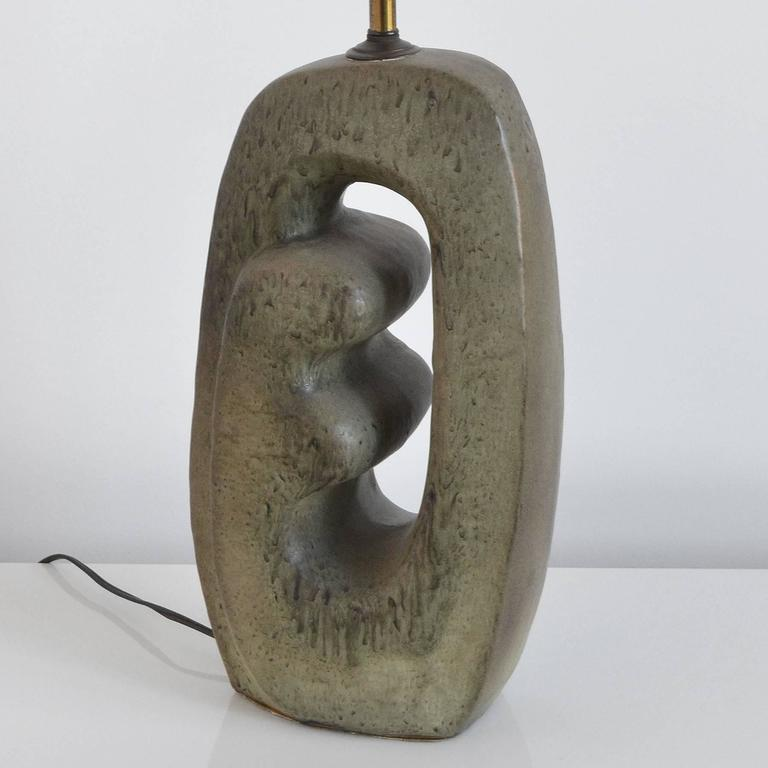 1950s Table Lamp with Sculptural Base In Good Condition For Sale In Highland, IN
